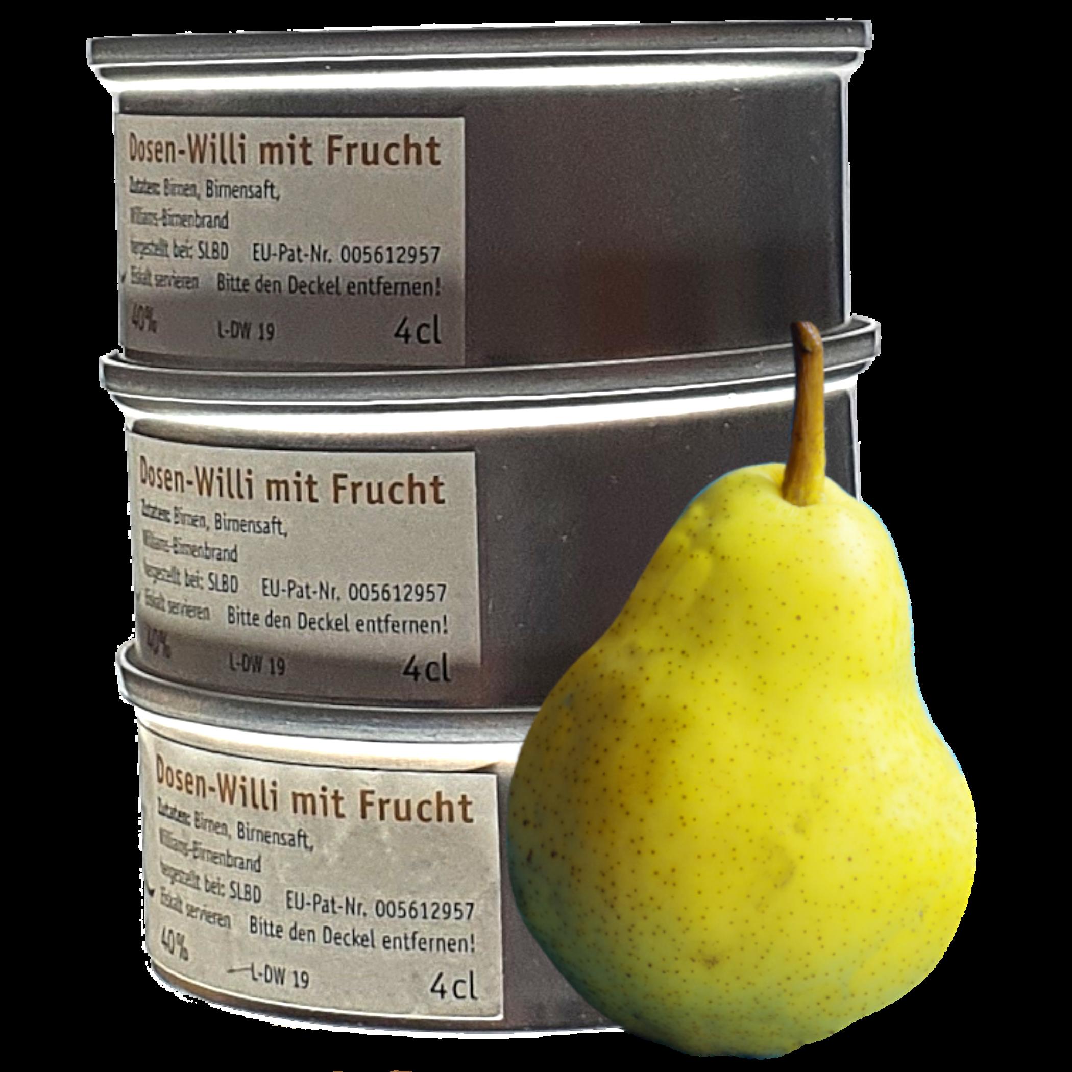Drei Dosen-Willi der Dosenschnaps mit Frucht